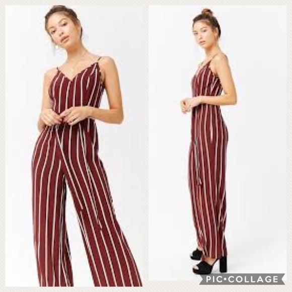 e013f233e7b Forever 21 Dresses   Skirts - NWT💎 F21 Maroon   White Striped Jumpsuit